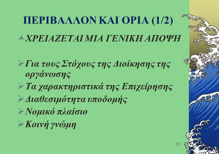 ΠΕΡΙΒΑΛΛΟΝ ΚΑΙ ΟΡΙΑ (1/2)