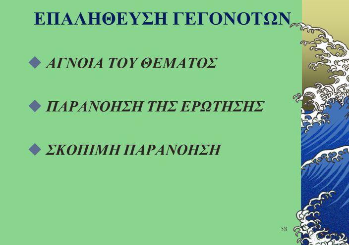 ΕΠΑΛΗΘΕΥΣΗ ΓΕΓΟΝΟΤΩΝ ΑΓΝΟΙΑ ΤΟΥ ΘΕΜΑΤΟΣ ΠΑΡΑΝΟΗΣΗ ΤΗΣ ΕΡΩΤΗΣΗΣ