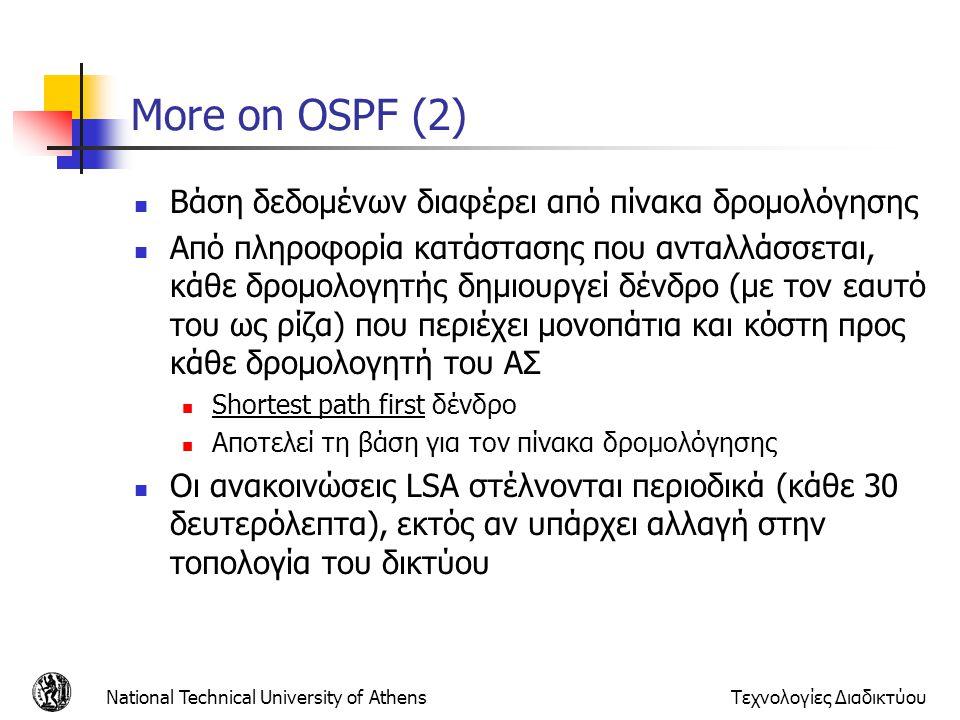 More on OSPF (2) Βάση δεδομένων διαφέρει από πίνακα δρομολόγησης