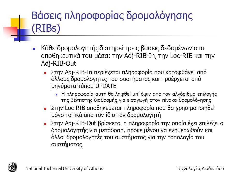 Βάσεις πληροφορίας δρομολόγησης (RIBs)