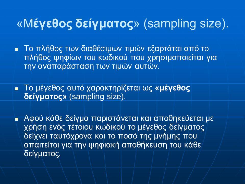 «Μέγεθος δείγματος» (sampling size).