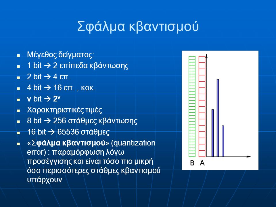 Σφάλμα κβαντισμού Μέγεθος δείγματος: 1 bit  2 επίπεδα κβάντωσης