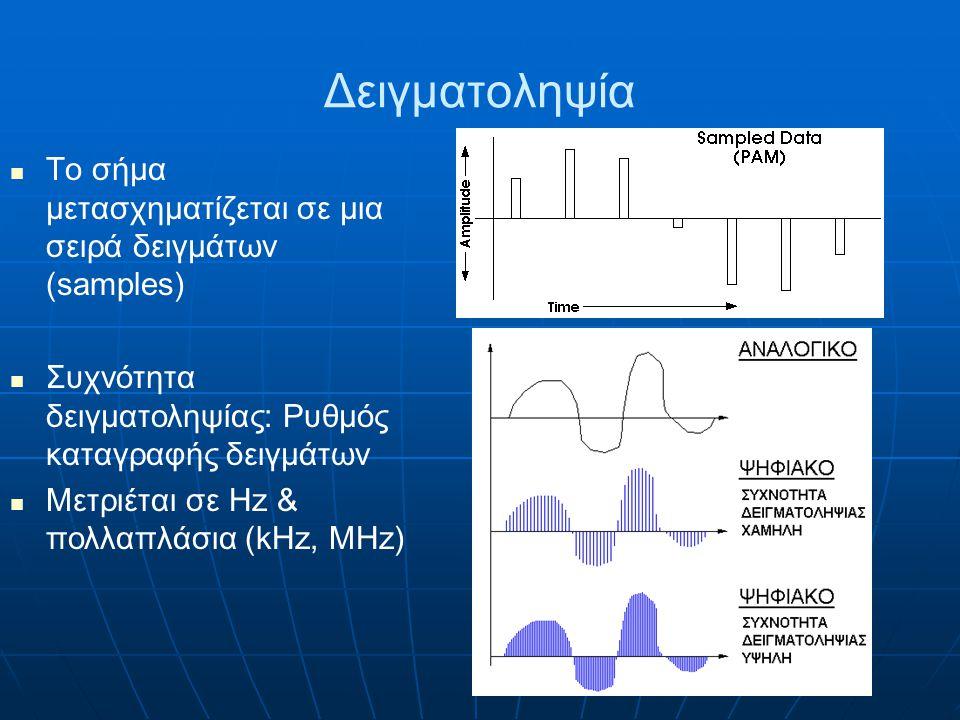Δειγματοληψία Το σήμα μετασχηματίζεται σε μια σειρά δειγμάτων (samples) Συχνότητα δειγματοληψίας: Ρυθμός καταγραφής δειγμάτων.