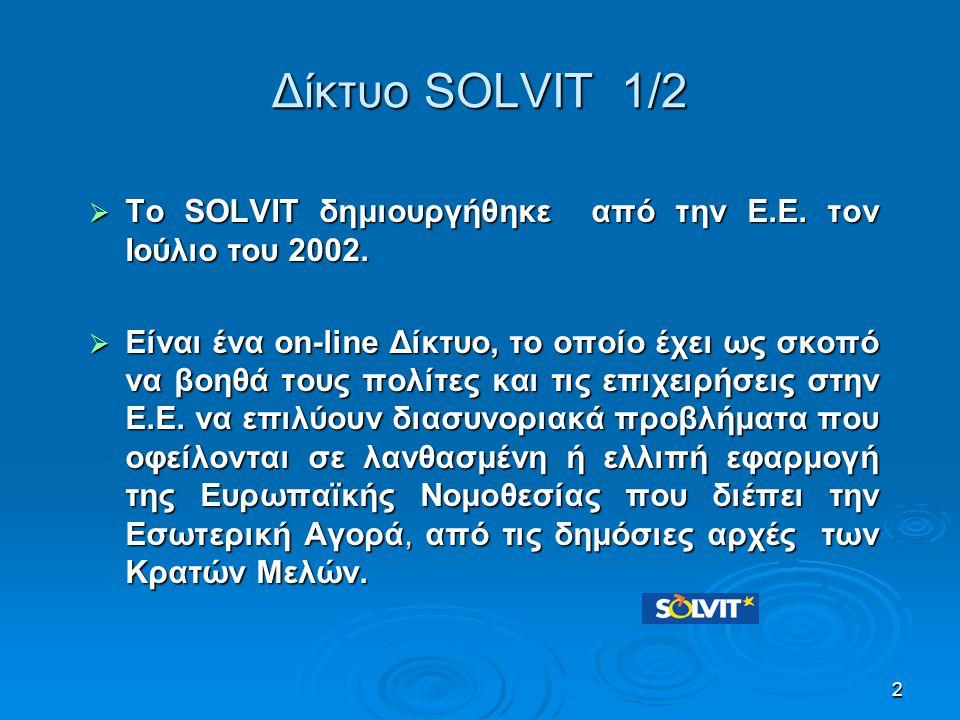 Δίκτυο SOLVIT 1/2 Το SOLVIT δημιουργήθηκε από την Ε.Ε. τον Ιούλιο του 2002.
