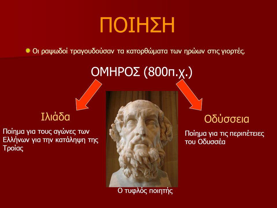 ΠΟΙΗΣΗ ΟΜΗΡΟΣ (800π.χ.) Ιλιάδα Οδύσσεια