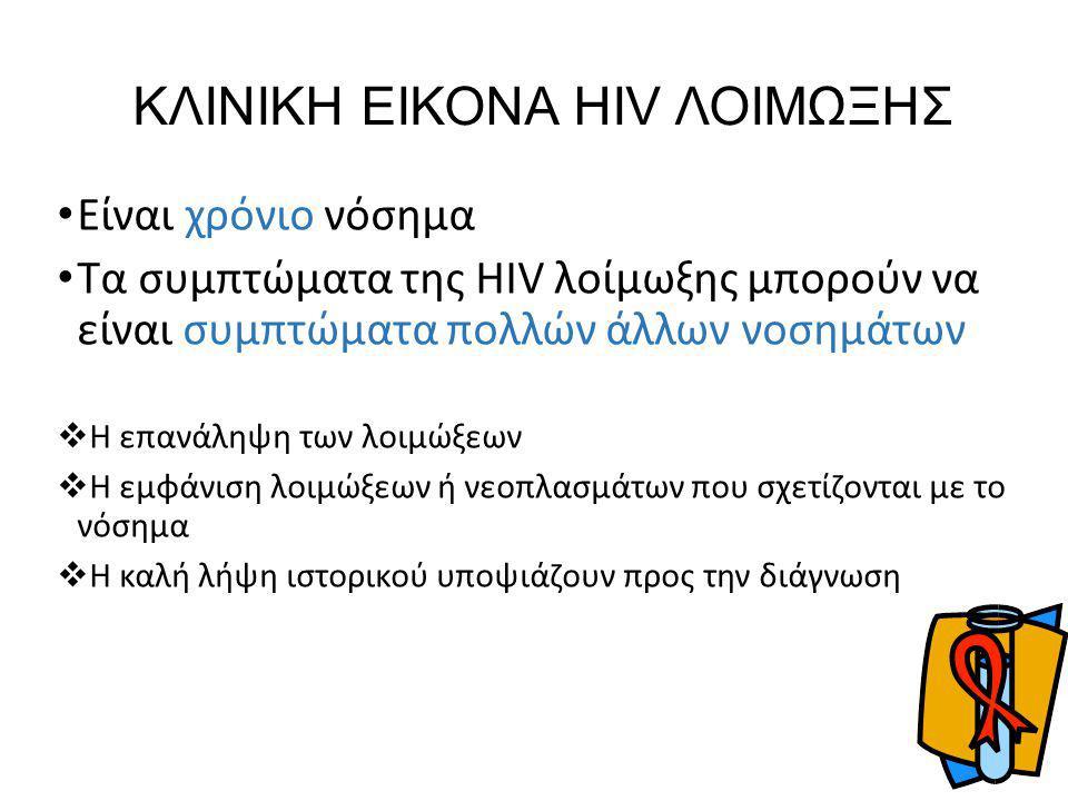 ΚΛΙΝΙΚΗ ΕΙΚΟΝΑ HIV ΛΟΙΜΩΞΗΣ