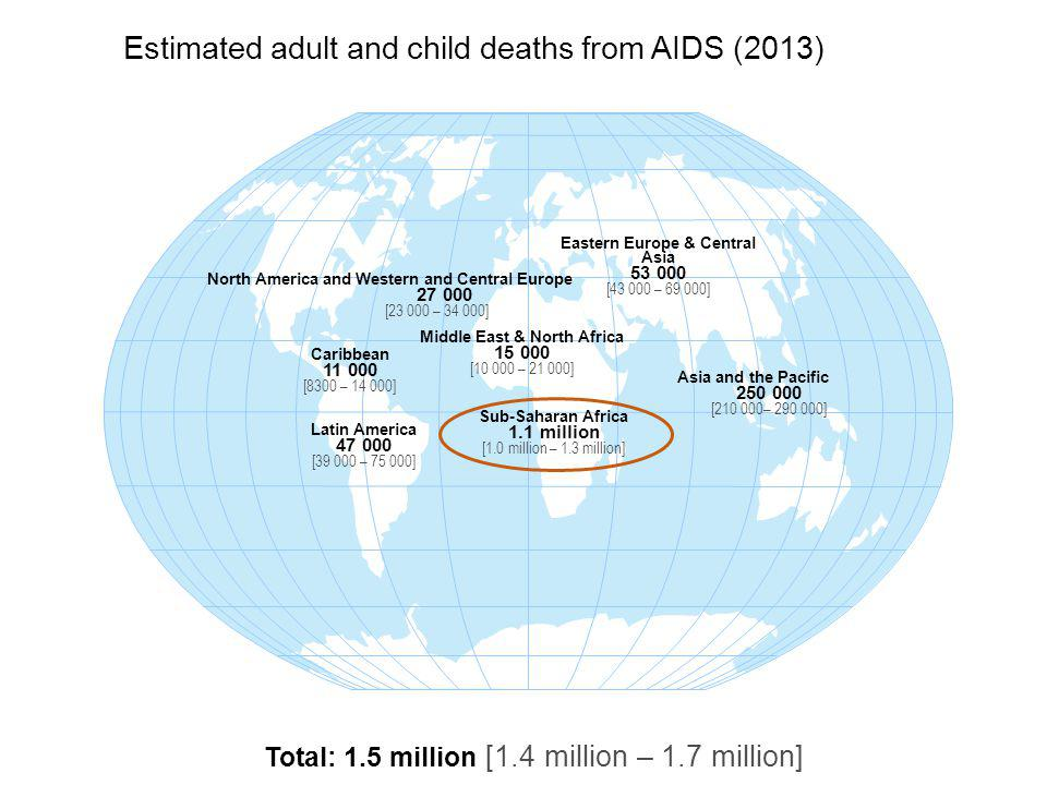 Estimated adult and child deaths from AIDS (2013)
