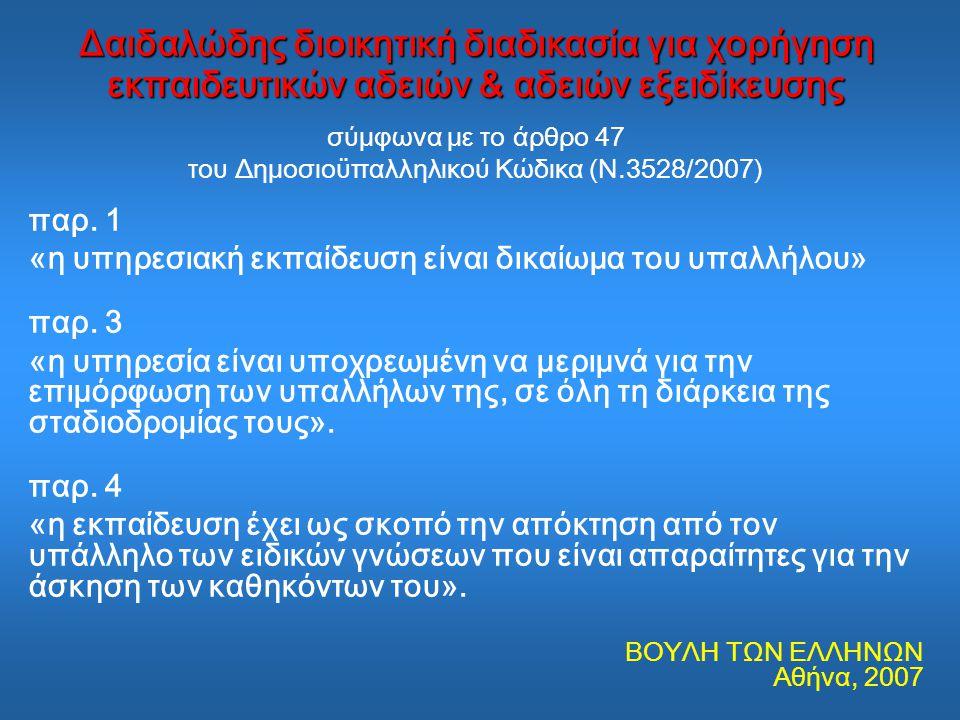 του Δημοσιοϋπαλληλικού Κώδικα (Ν.3528/2007)
