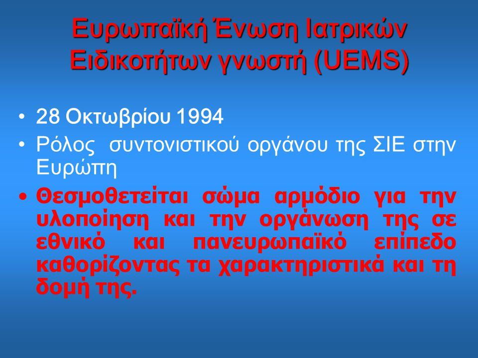 Ευρωπαϊκή Ένωση Ιατρικών Ειδικοτήτων γνωστή (UEMS)