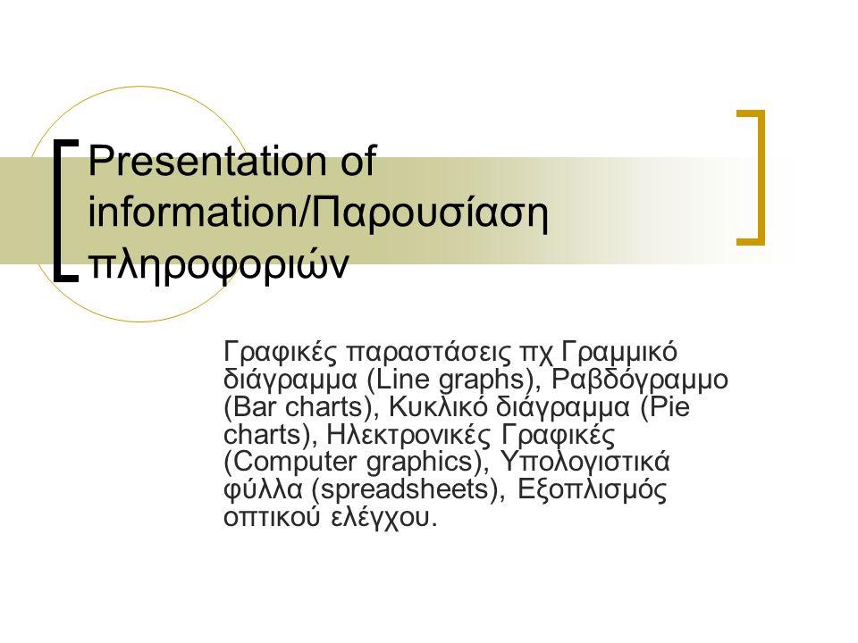 Presentation of information/Παρουσίαση πληροφοριών