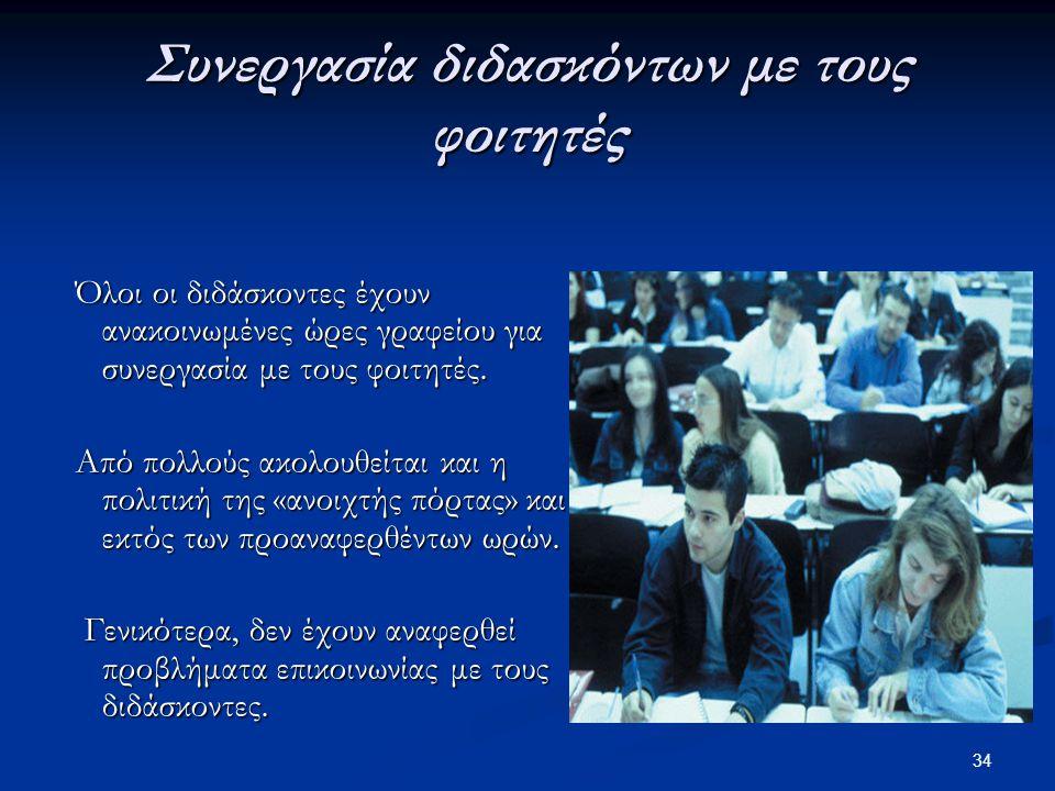 Συνεργασία διδασκόντων με τους φοιτητές