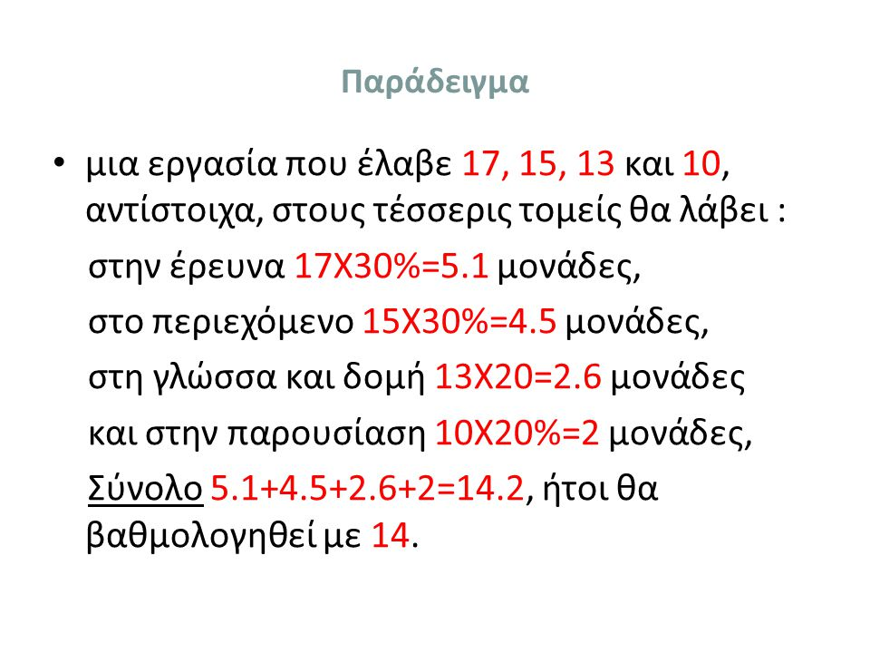 στην έρευνα 17Χ30%=5.1 μονάδες, στο περιεχόμενο 15Χ30%=4.5 μονάδες,