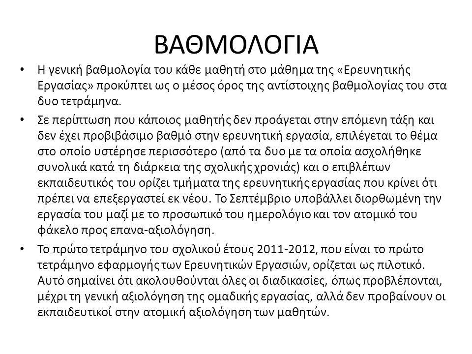 ΒΑΘΜΟΛΟΓΙΑ