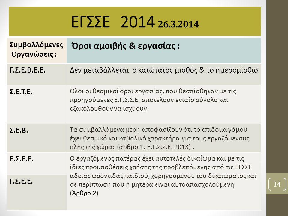 ΕΓΣΣΕ 2014 26.3.2014 Όροι αμοιβής & εργασίας : Συμβαλλόμενες