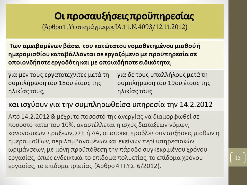 Οι προσαυξήσεις προϋπηρεσίας (Άρθρο 1, Υποπαράγραφος ΙΑ.11. Ν. 4093/12.11.2012)