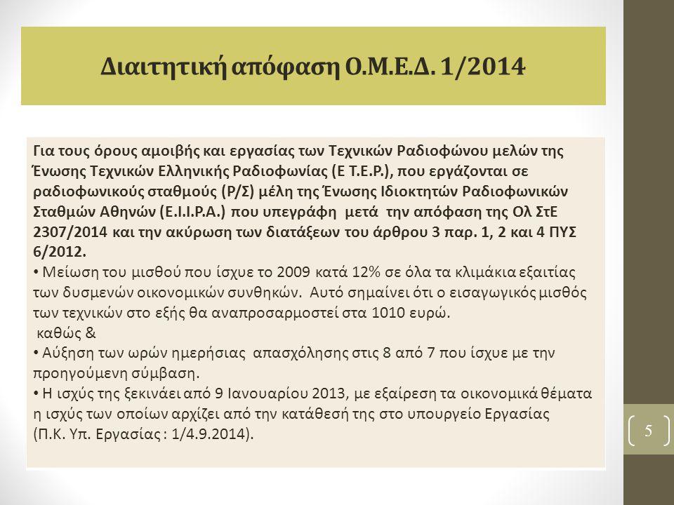 Διαιτητική απόφαση Ο.Μ.Ε.Δ. 1/2014
