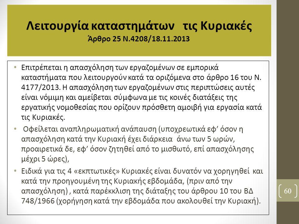 Λειτουργία καταστημάτων τις Κυριακές Άρθρο 25 N.4208/18.11.2013