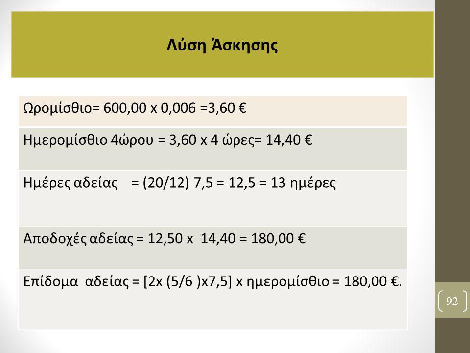 Λύση Άσκησης Ωρομίσθιο= 600,00 x 0,006 =3,60 €