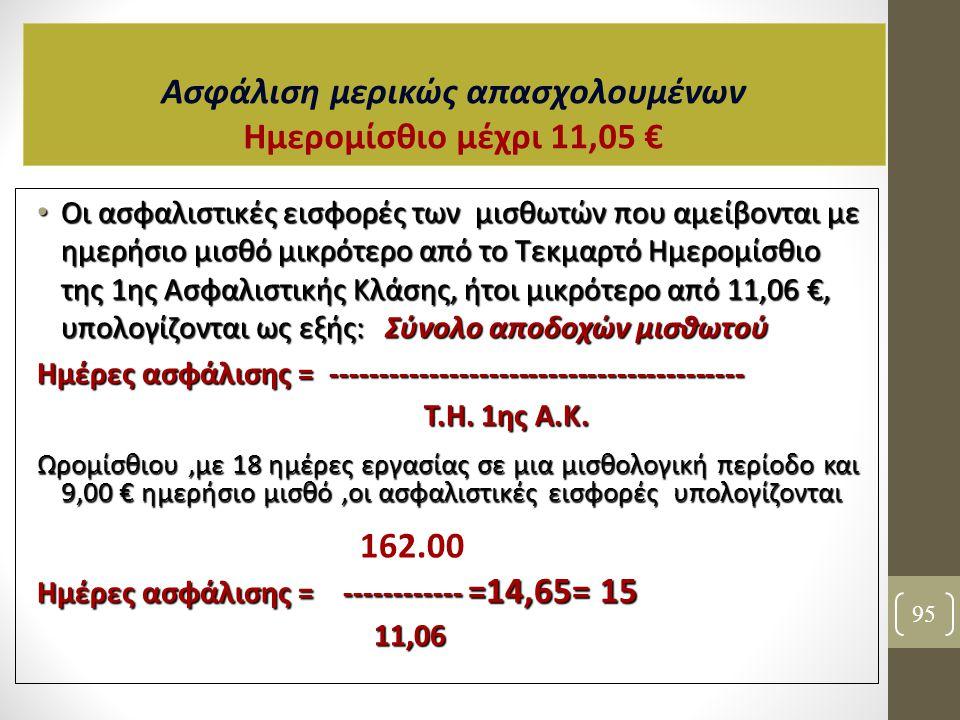 Ασφάλιση μερικώς απασχολουμένων Ημερομίσθιο μέχρι 11,05 €