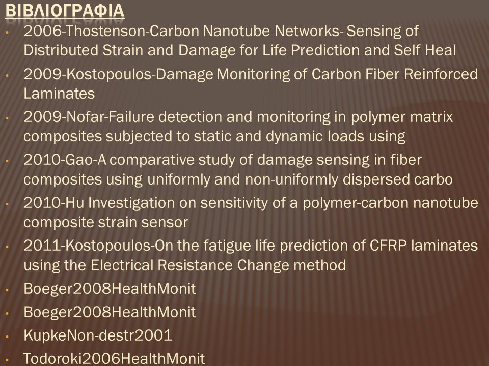 ΒΙΒΛΙΟΓΡΑΦΙΑ 2006-Thostenson-Carbon Nanotube Networks- Sensing of Distributed Strain and Damage for Life Prediction and Self Heal.