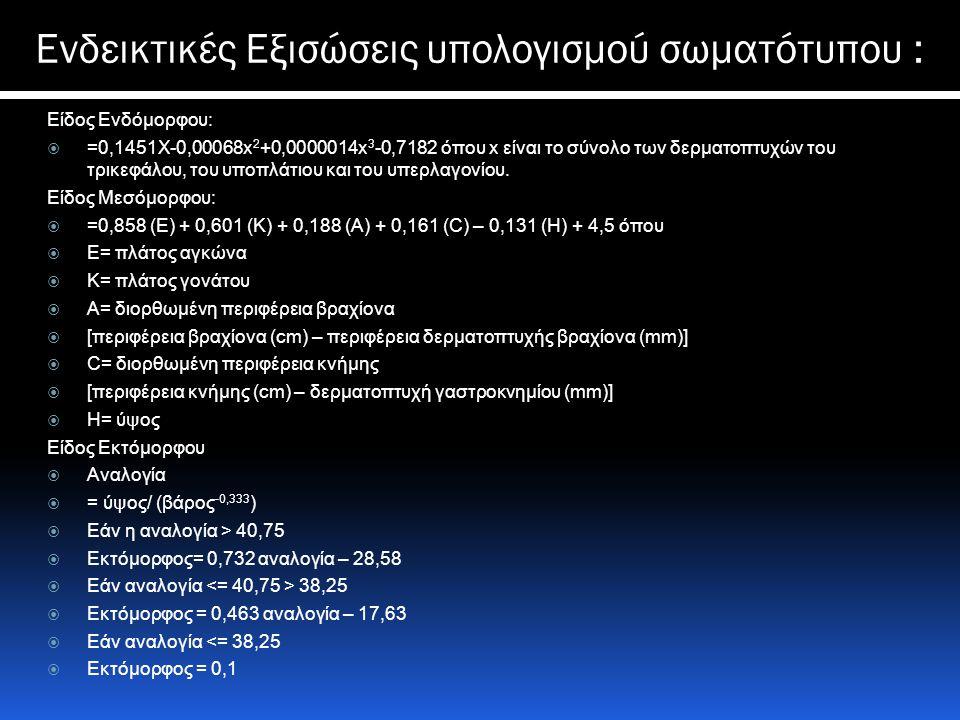 Ενδεικτικές Εξισώσεις υπολογισμού σωματότυπου :