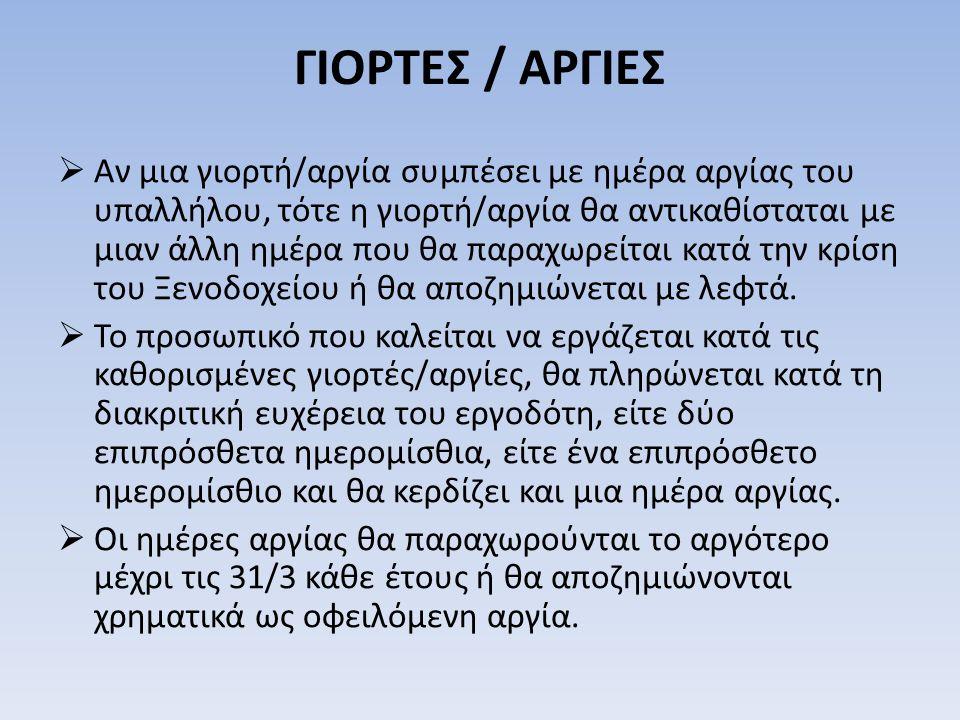 ΓΙΟΡΤΕΣ / ΑΡΓΙΕΣ
