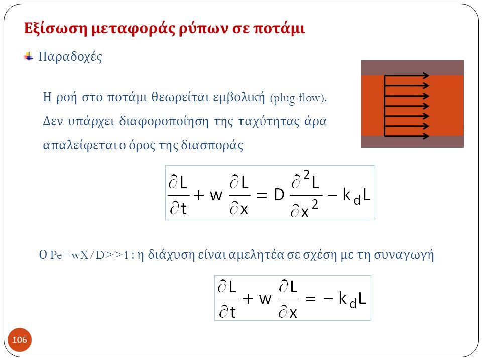 Εξίσωση μεταφοράς ρύπων σε ποτάμι