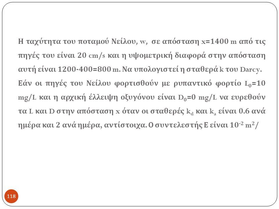 Η ταχύτητα του ποταμού Νείλου, w, σε απόσταση x=1400 m από τις πηγές του είναι 20 cm/s και η υψομετρική διαφορά στην απόσταση αυτή είναι 1200-400=800 m. Να υπολογιστεί η σταθερά k του Darcy.