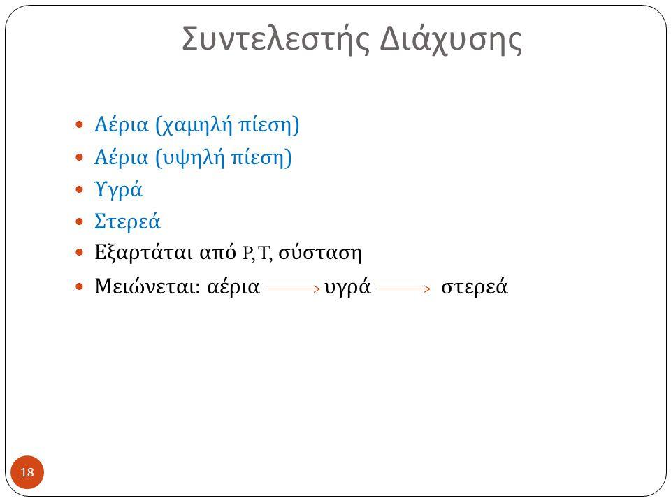 Συντελεστής Διάχυσης Αέρια (χαμηλή πίεση) Αέρια (υψηλή πίεση) Υγρά