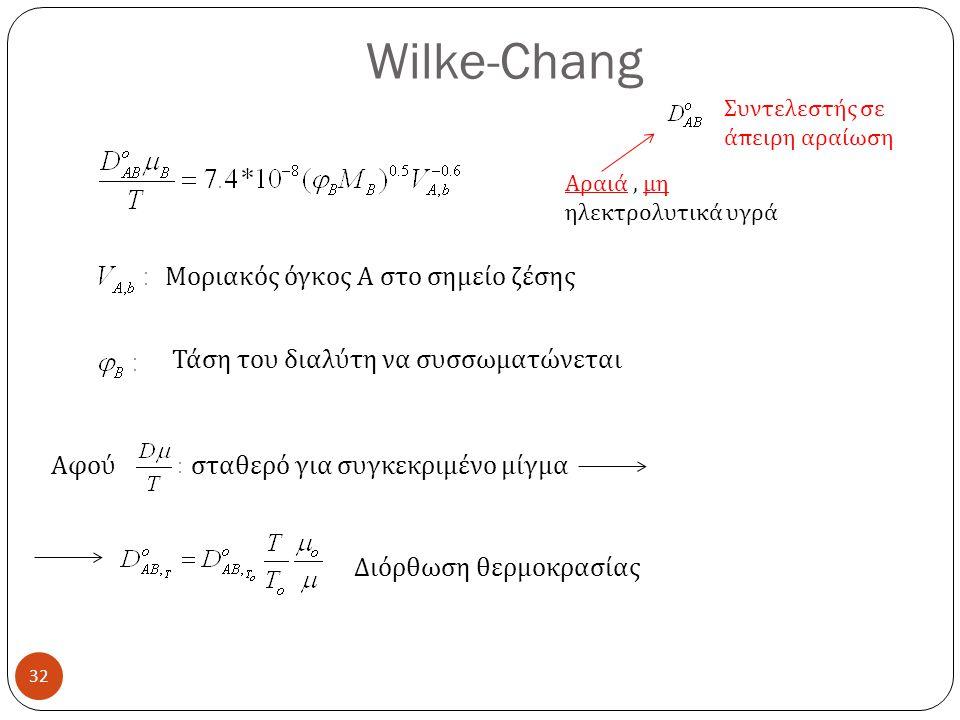 Wilke-Chang Μοριακός όγκος Α στο σημείο ζέσης