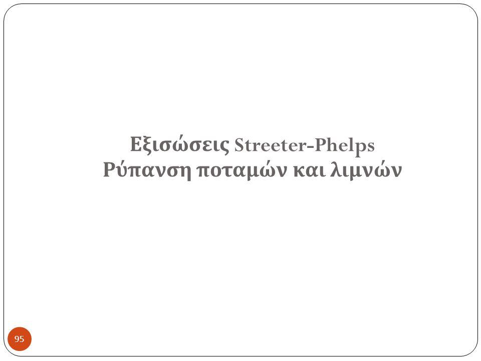 Εξισώσεις Streeter-Phelps Ρύπανση ποταμών και λιμνών