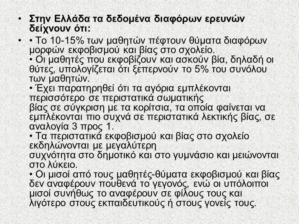 Στην Ελλάδα τα δεδομένα διαφόρων ερευνών δείχνουν ότι: