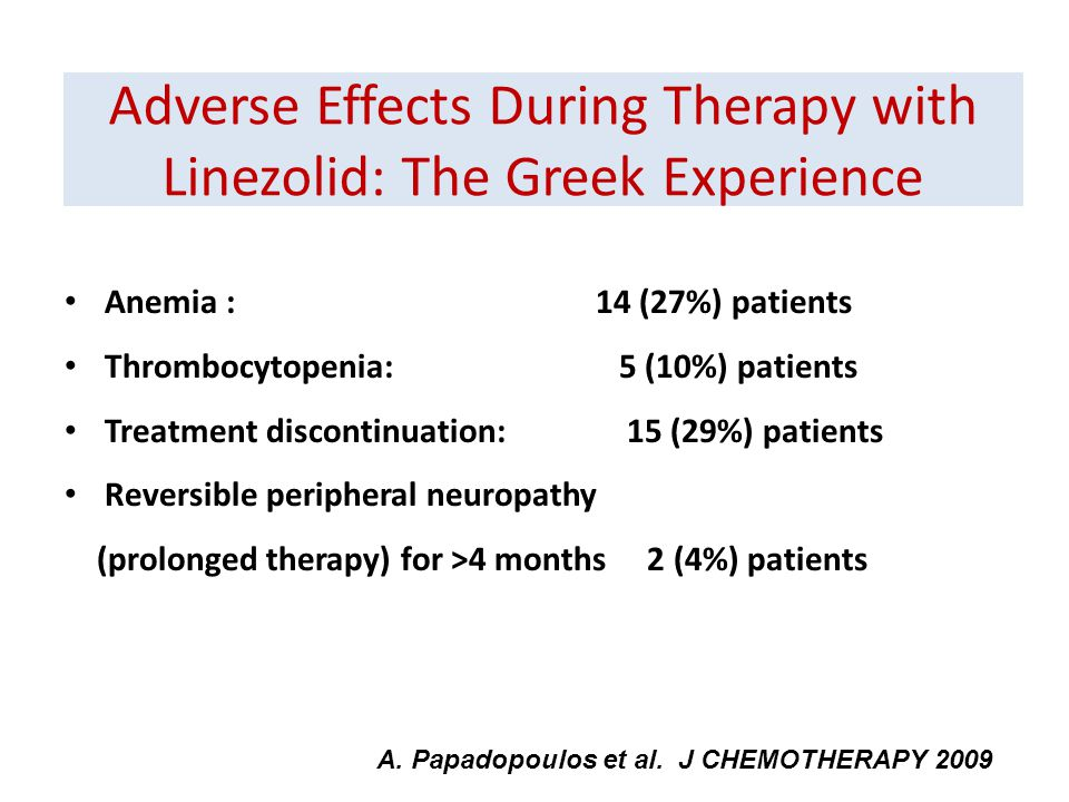 Adverse Effects During Therapy with Linezolid: The Greek Experience