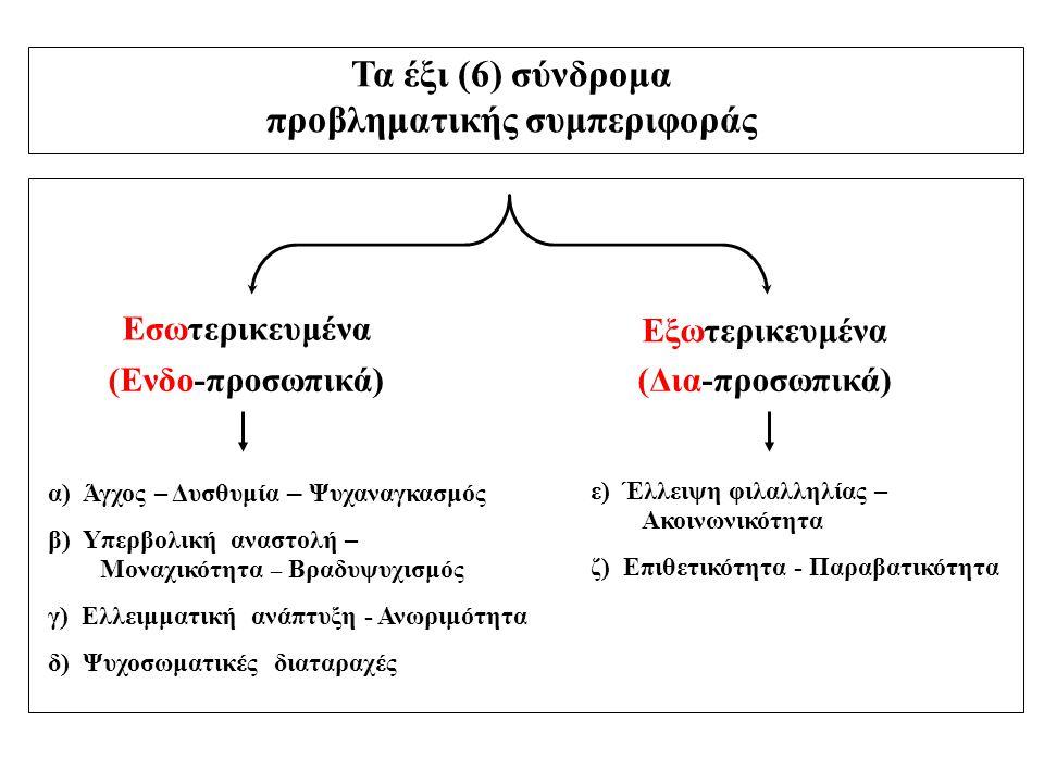 Τα έξι (6) σύνδρομα προβληματικής συμπεριφοράς