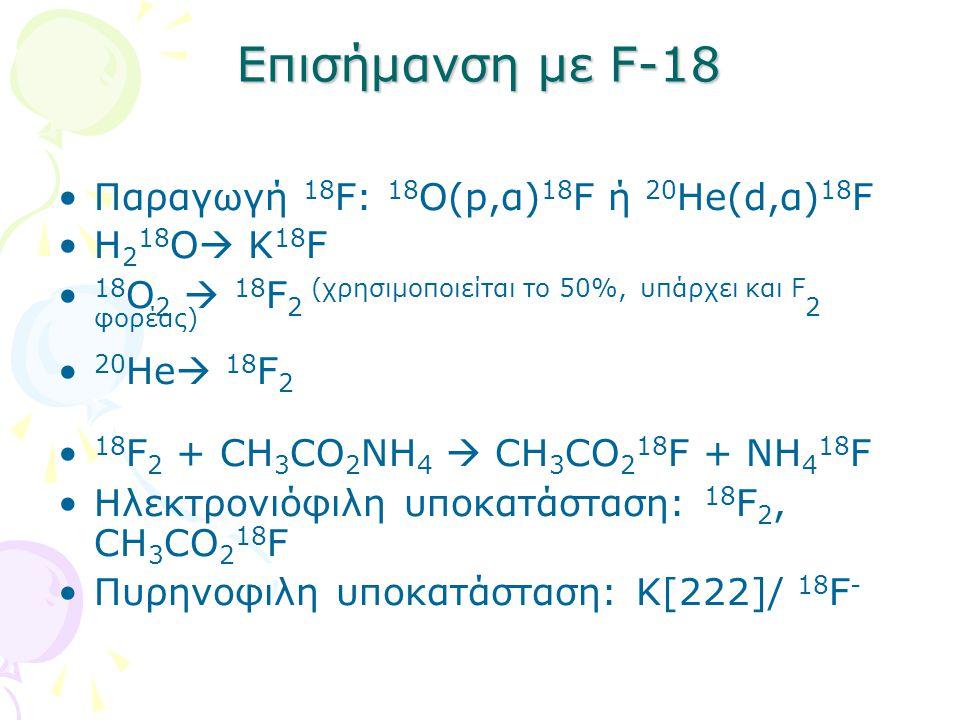 Επισήμανση με F-18 Παραγωγή 18F: 18Ο(p,α)18F ή 20He(d,α)18F