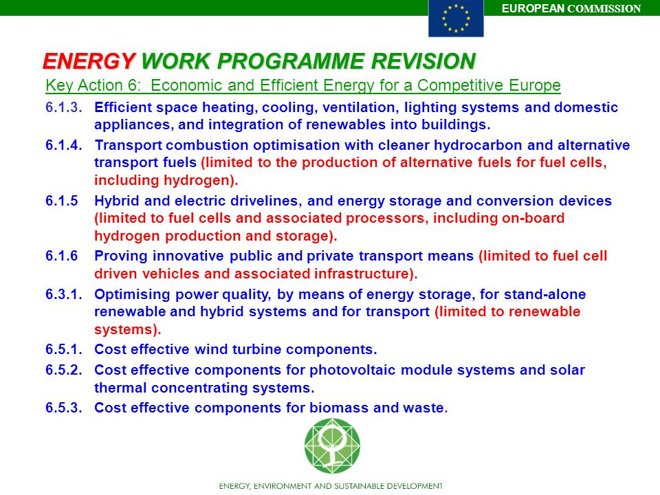 ENERGY WORK PROGRAMME REVISION