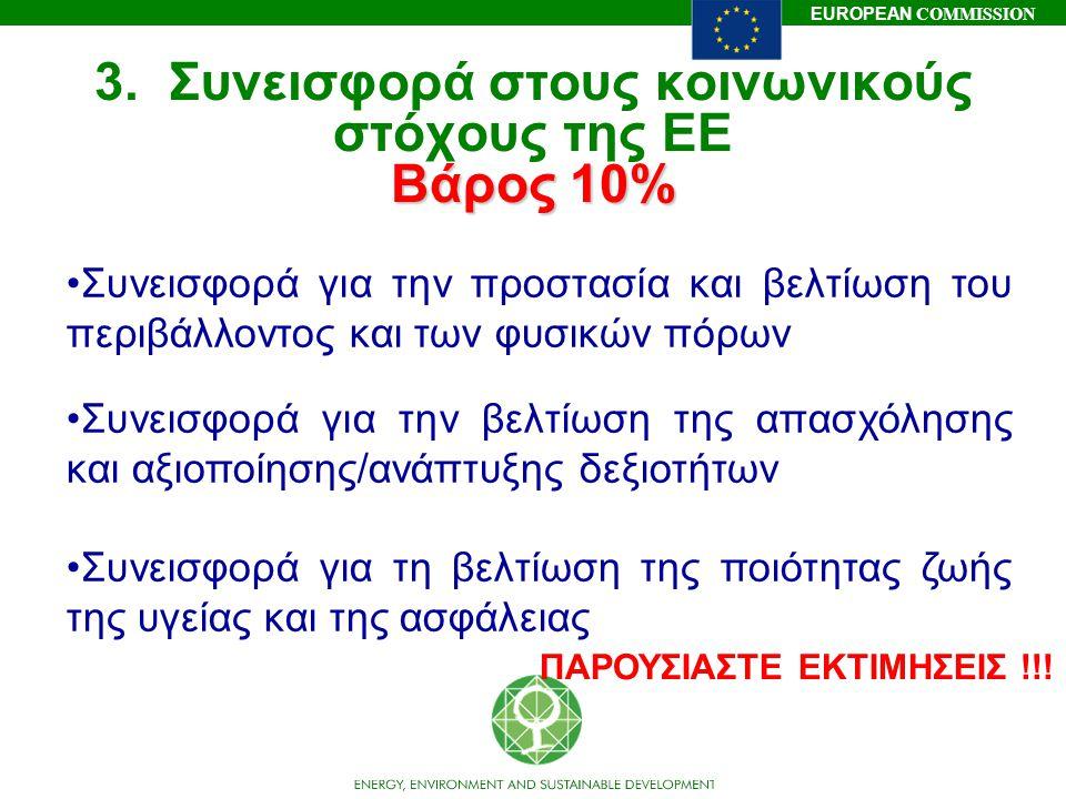 3. Συνεισφορά στους κοινωνικούς στόχους της ΕΕ Βάρος 10%