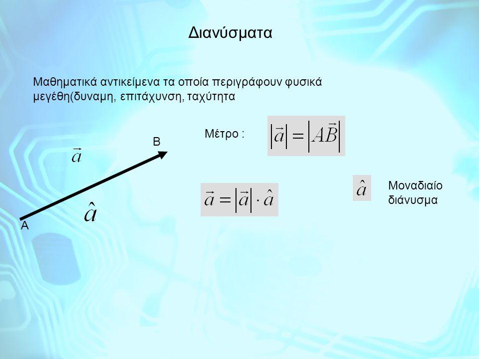 Διανύσματα Μαθηματικά αντικείμενα τα οποία περιγράφουν φυσικά μεγέθη(δυναμη, επιτάχυνση, ταχύτητα. Μέτρο :