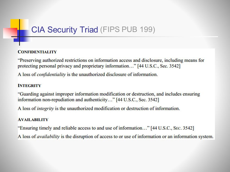 CIA Security Triad (FIPS PUB 199)