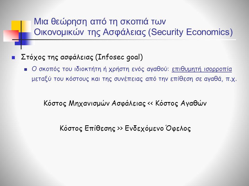 Μια θεώρηση από τη σκοπιά των Οικονομικών της Ασφάλειας (Security Economics)