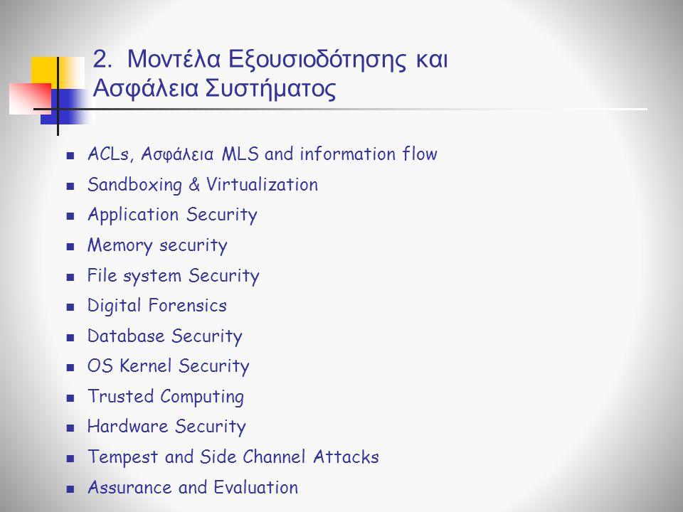 2. Μοντέλα Εξουσιοδότησης και Ασφάλεια Συστήματος