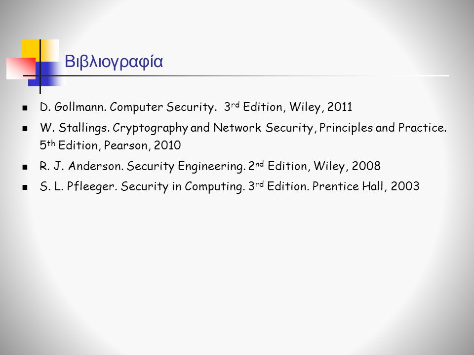 Βιβλιογραφία D. Gollmann. Computer Security. 3rd Edition, Wiley, 2011