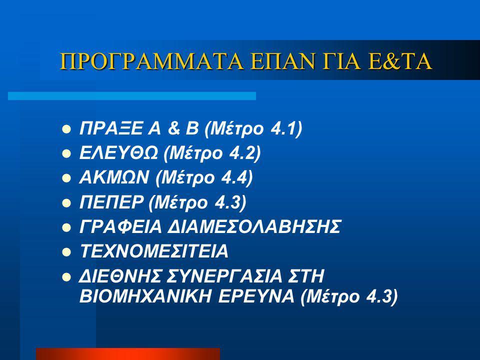 ΠΡΟΓΡΑΜΜΑΤΑ ΕΠΑΝ ΓΙΑ Ε&ΤΑ