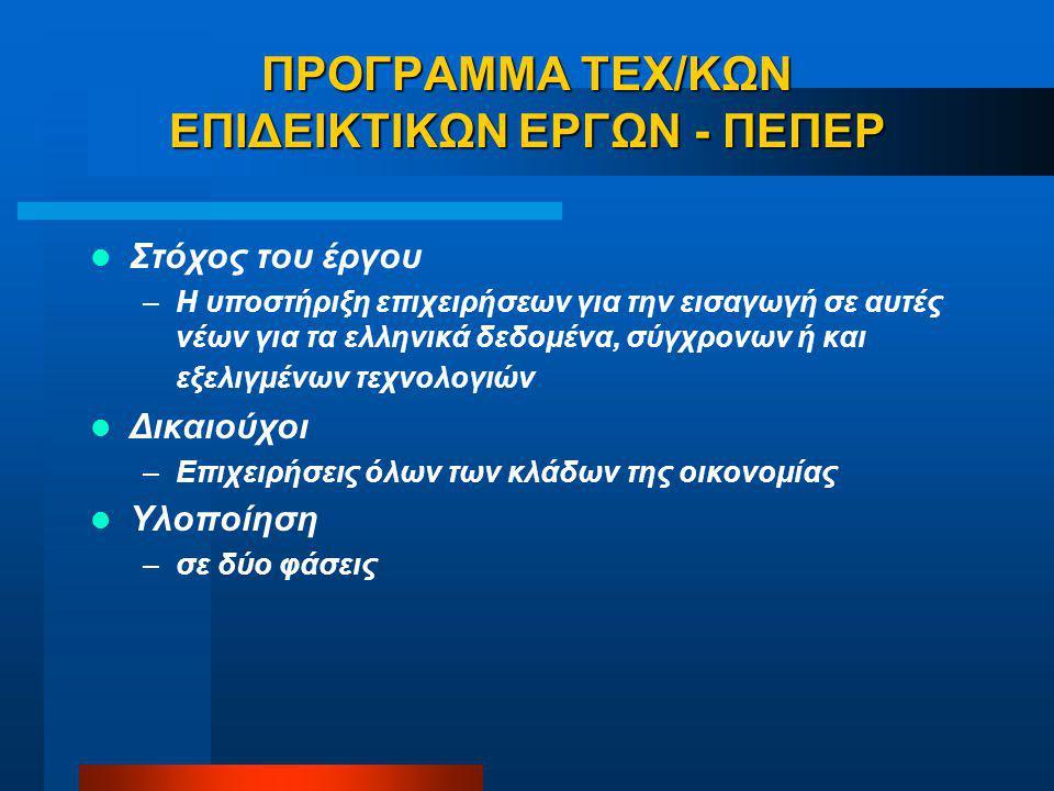 ΠΡΟΓΡΑΜΜΑ ΤΕΧ/ΚΩΝ ΕΠΙΔΕΙΚΤΙΚΩΝ ΕΡΓΩΝ - ΠΕΠΕΡ