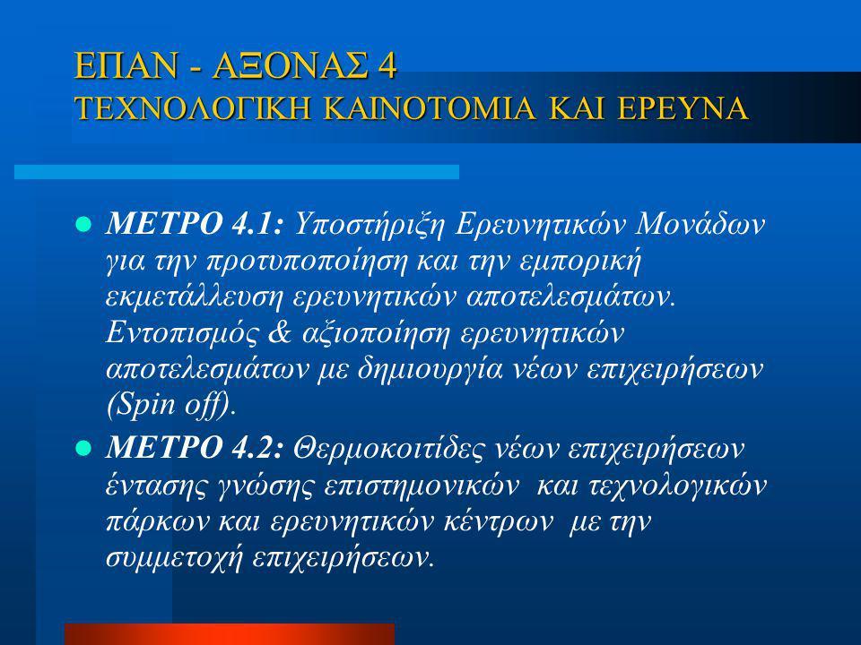 ΕΠΑN - ΑΞΟΝΑΣ 4 ΤΕΧΝΟΛΟΓΙΚΗ ΚΑΙΝΟΤΟΜΙΑ ΚΑΙ ΕΡΕΥΝΑ