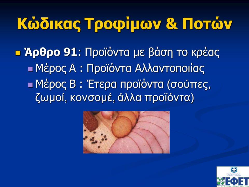 Κώδικας Τροφίμων & Ποτών