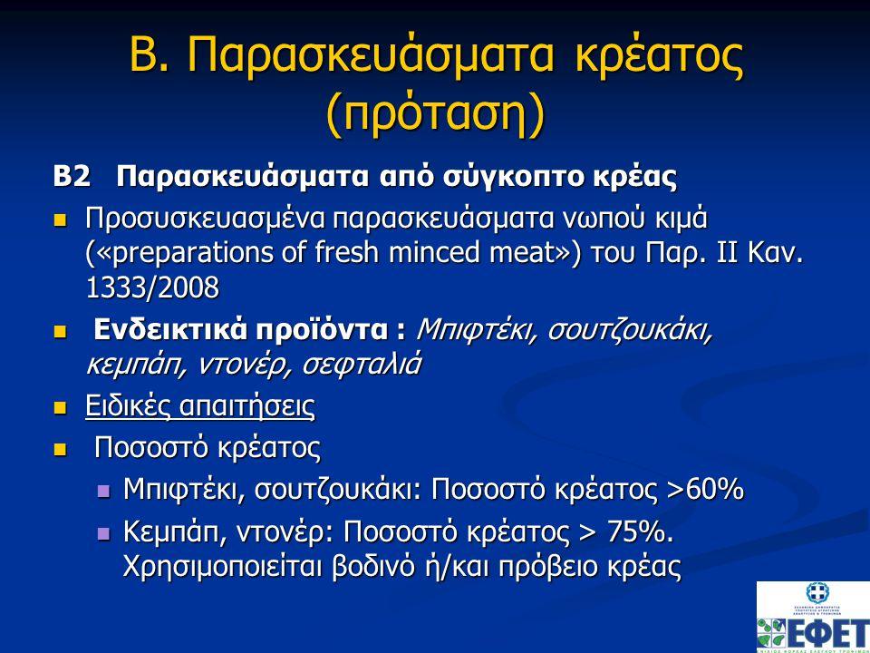 Β. Παρασκευάσματα κρέατος (πρόταση)