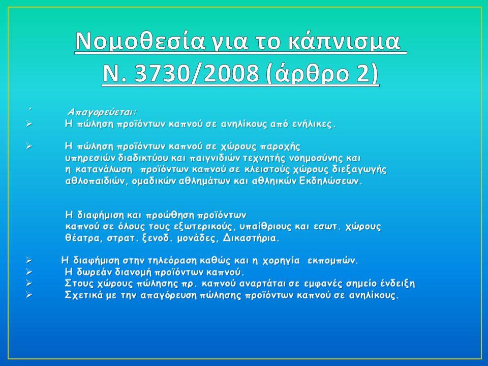 Νομοθεσία για το κάπνισμα Ν. 3730/2008 (άρθρο 2)