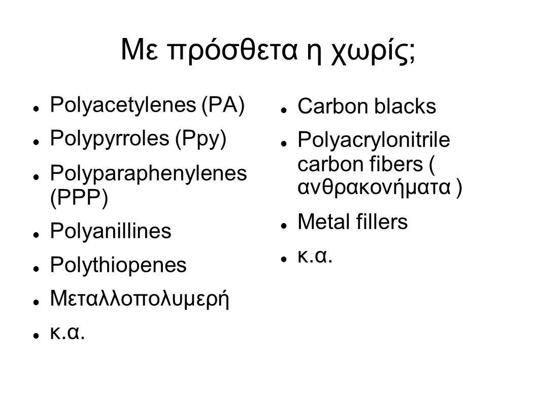 Με πρόσθετα η χωρίς; Polyacetylenes (PA) Polypyrroles (Ppy)