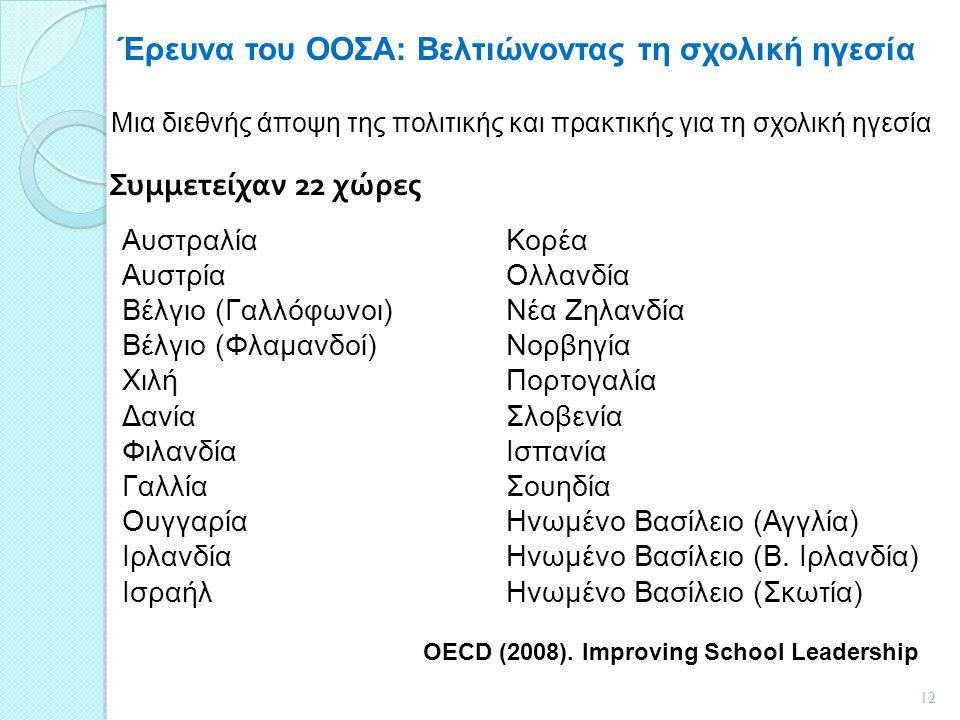 Έρευνα του ΟΟΣΑ: Βελτιώνοντας τη σχολική ηγεσία